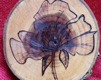 Botanical pyrographed wood slice