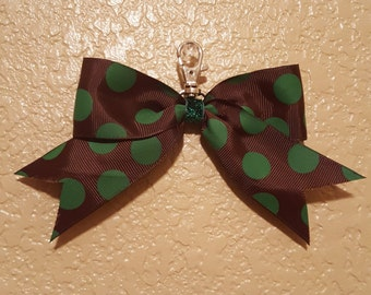 Chocolate Brown with Green Polka Dots Back-Pack Bow