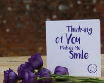 Thinking Of You Makes Me Smile, Love, Friendship, Laughter, Support, Encouragement, Uplifting, Purple, Glitter, Embossed, Luxury Card.
