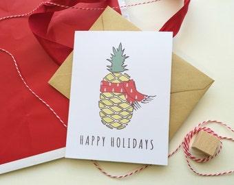 Christmas Pineapple Holiday Quirky Card / Single Funny Christmas Card / Funny Holiday Card Set / Happy Holidays Card Handmade Christmas Gift