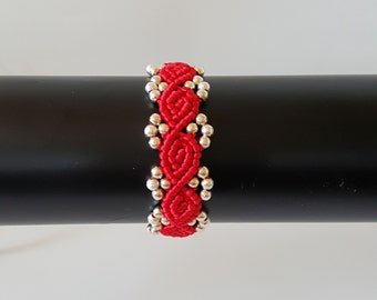 Red Micro-Macrame Bracelet With Gold Beads