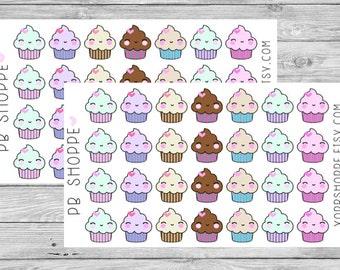 28 Kawaii Cupcake Stickers
