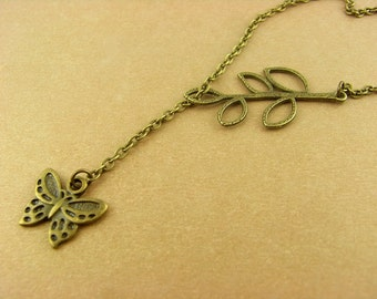 Necklace - bronze, butterfly
