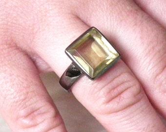 Lemon Topaz Ring - Topaz Silver Ring - Birthstone Rings - 925K Silver Ring - Handmade Ring - Gold Topaz Rings