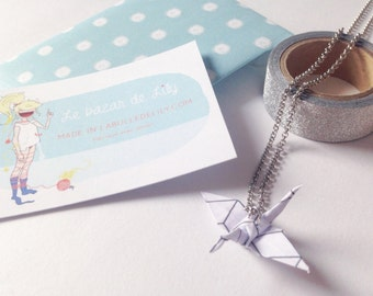 Origami XX Little crane necklace