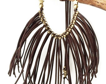 Boho necklace fringed suede BROWN STAR