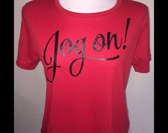 """Exercise T-shirts """"Jog On""""- red, blue, yellow"""