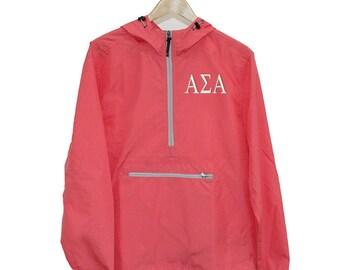 Alpha Sigma Alpha Wind & Rain Resistant Embroidered Pullover, Alpha Sigma Alpha Windbreaker, ASA UNLINED Windbreaker, ASA Anorak