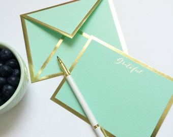 Grateful Mint Green Card with Gold Foil Bordered Envelope