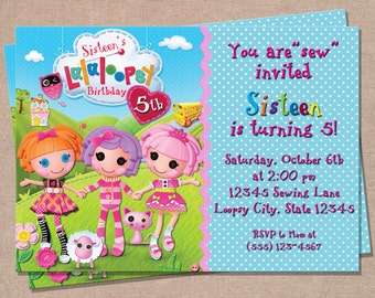 Lalaloopsy Birthday Invitation - Lalaloopsy Party Invitation - Lalaloopsy - Girls Birthday Invitations - Kids Invitations - Printable Invite