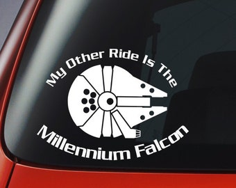 Vinyl Decal - My Other Ride Is The Millennium Falcon' - Car, Window, Wall, Laptop Sticker