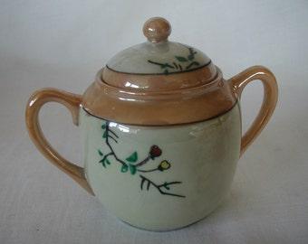 Vintage Hand Painted Made in Japan Lidded Handled Sugar Bowl