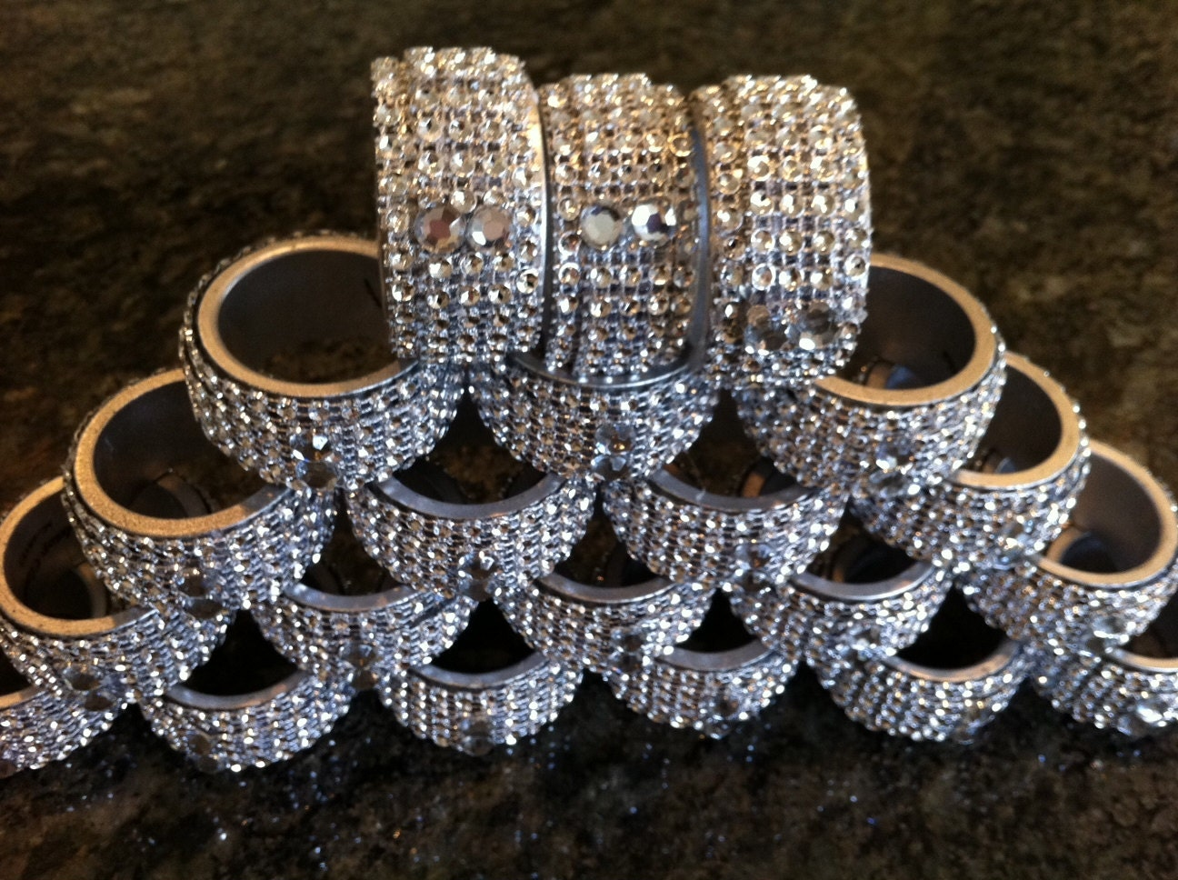 silver and bling napkin rings