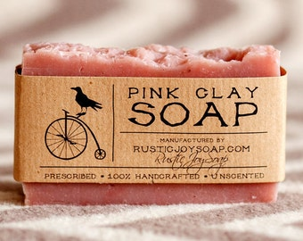 Pink Clay, pink soap, clay soap, spa soap, gift soap, girlfriend gift, womens gift, natural soap, homemade soap, acne soap, dry skin soap