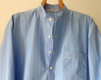 Small mens nightshirt in blue cotton poplin - sample garment