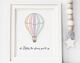 Oh The Places You'll Go Hot Air Balloon Print - Nursery Print - Children's Print