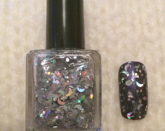 Silver Holographic Moon Dreaming of Clear Skies Indie Nail Polish