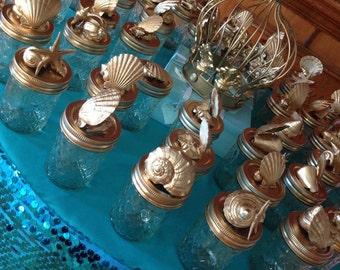 Mason Jar Under the Sea Seashell Party Favor or Beach Theme Wedding Favor- SET OF 12