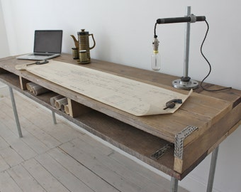 Ellie Reclaimed Scaffolding Board Urban Industrial Chic Long Desk with Built In Storage and Galvanised Steel Legs - www.urbangrain.co.uk