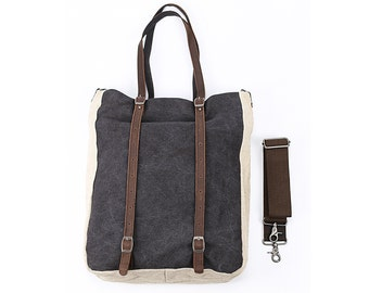 Linen Canvas Tote with Leather Straps