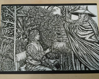 The Hobbit, 'I'm looking for someone...'pen and Ink Print