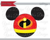 Incredibles SVG Logo Mickey Ears Inspired Badge Iron On Layered Cutting File in Svg, Eps, Dxf, and Jpeg Format for Cricut and Silhouette