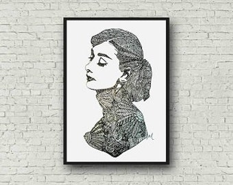 Audrey Hepburn Zentangle A4 Art Print
