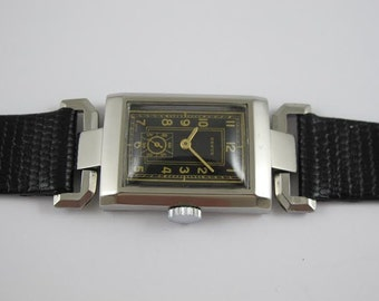 Rare revue mens art deco watch new old stock circa 1935 swiss made all stainless steel nos unworn