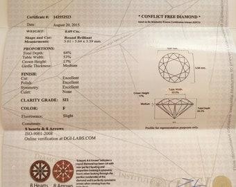Diamond Gemological Laboratory (DGL) certificate