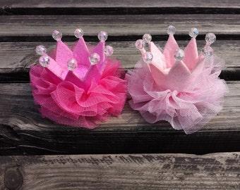 Girl Crown Hair Clip For Girl First Birthday, Cake Smash, Girl Hair Clip, Princess Hair Clip, Toddler Hair Clip, Baby Hair Clip, Set of 2pcs