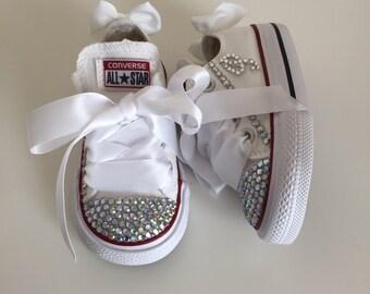 White Rhinestone Converse Shoes