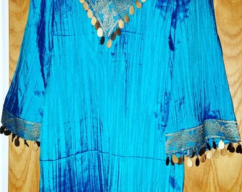 Stunning Azure blue hand designed Indian Silk top