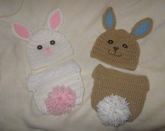 Boy or Girl Bunny Diaper Set