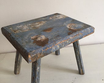 Blue stool rustic