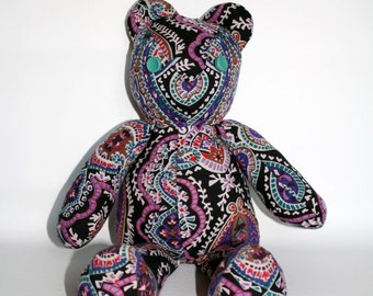 Recycled Fabric Vintage Style Teddy Bear