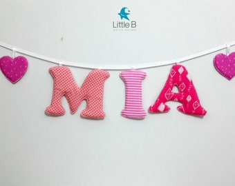 Mia name banner,Nursery wall letters, girl nursery letters, Wall hanging fabric letters, , baby girl gift, personalized name banner