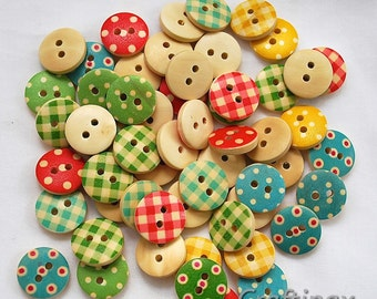 50 Mixed Colours - 15mm polka dot,  polka dot rustic, small wooden buttons, Sewing, Scrapbooking.