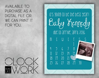 Pregnancy Announcement, Printed or Digital File Available, Calendar