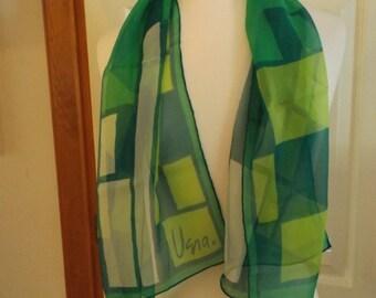 Vintage Vera Scarf, Designer, Long, Signed, Green