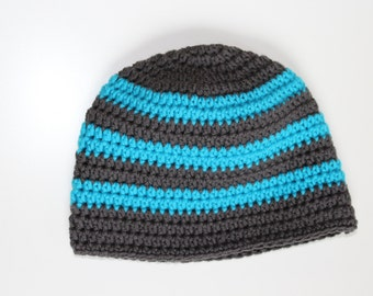 Young Beanie hat, crocheted baby Beanie, crochet beanie with stripes,.