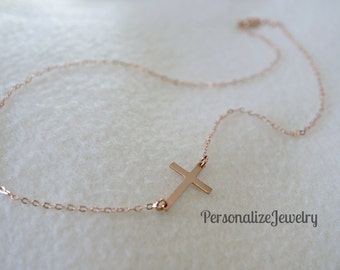 Side Cross Necklace, 14K Rose Gold Filled Jewelry, Delicate Necklace, Rose Gold Jewelry, Simple Gift.