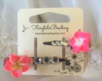 Pink flower barrettes. Girls barrettes. Girls flower hair clips. Flower hair accessories. Ariel accessories. Ariel barrettes