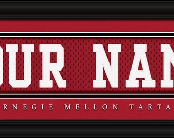 """Carnegie Mellon University Tartans NCAA Framed Personalized Jersey Nameplate College Sports  Home Decor 22""""x6"""" Free Shipping"""