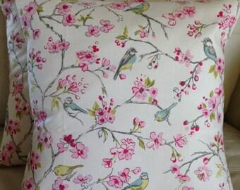 2 x Clarke & Clarke birdies in pink cushion covers