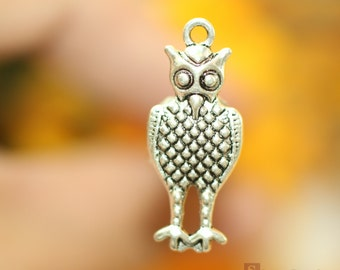 20 pcs of Owl Charms  12x33mm   Antique Silver Owl Charms