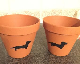 Dashchund Terracotta Handpainted Plant Pots Chalkboard Paint