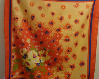 70's Italian Scarf Floral Vintage Orange and Yellow Pattern