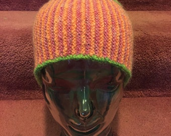 Handspun, hand-dyed, handknit hat made of wool and kid mohair, original design