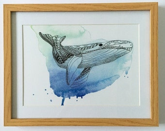 Watercolour whale painting print, boyfriend gift,  bathroom decor, unframed, whale illustration , wall art, home decor, gift, new home gift