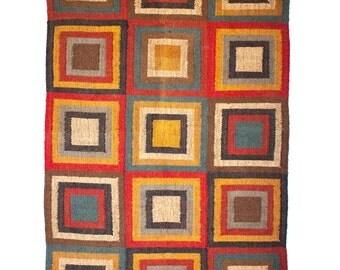 Concentric Magic Squares Multicolour Kilim - Medium, rugs kilims, handwoven, jute wool, home decor, colorful, Christmas gift, handicraft